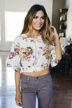 c452a03c03d8d Cream Floral Cropped Tie Back Blouse - Final Sale. Crop BlouseCouture  BoutiqueDottie ...