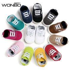 3bbbc32e9bba WONBO Band New Arrive Baby Moccasin Baby First Walkers Baby Canvas  ShoesSoft Bottom Non-slip