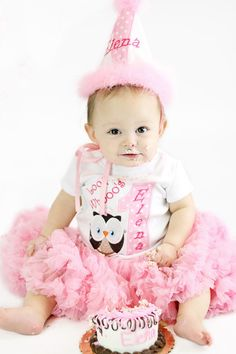 Look Whoos One First Birthday Owl Birthday Set - Complete Premium Set includes Shirt, Hat, Bloomers, Pettiskirt. $77.00, via Etsy.