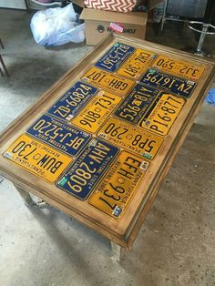 License Plate Table. Used A Table With Chipped Glass Insert, Remove, Add  Thin