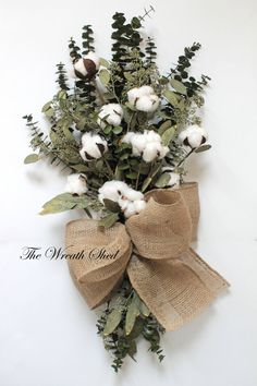 Eucalyptus Cotton Bouquet, 2nd Anniversary Gift, Natural Cotton Bolls, Preserved Green Eucalyptus, Cotton Boll Arrangement, Wedding Decor