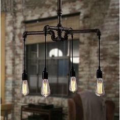 industrial do vintage 4-luz de ferro pingente de luz sombra de 2015 por R$747,64