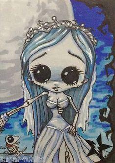Sugar Fueled Emily Corpse Bride lowbrow creepy cute big eye ACEO mini print on… Arte Horror, Horror Art, Tim Burton Art, Chesire Cat, Art Anime, Goth Art, Corpse Bride, Creepy Art, Big Eyes
