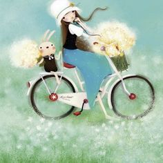 Summertime Kuri Kumi 500 PC Jigsaw Puzzle Santoro London, Bike Illustration, Marquise, Creative Pictures, Betty Boop, Pretty Pictures, Cute Drawings, Holiday Cards, Cute Girls