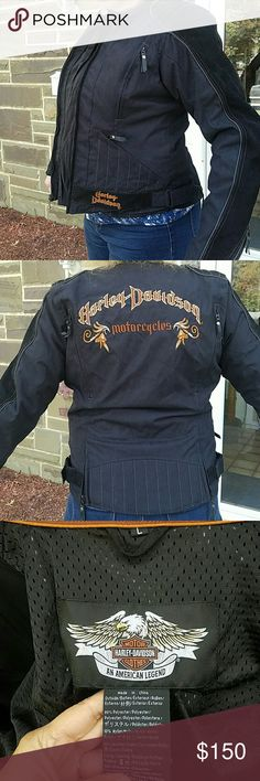 HARLEY DAVIDSON RIDING JACKET (Lady Large) NWOT Padded safety jacket. HEAVY DUTY !!!!  GORGEOUS!!    ENUFF SAID   Double Zip Velcro sides,  plenty of vent zips  A MUST HAVE FOR THE HARLEY GALS Harley-Davidson Jackets & Coats