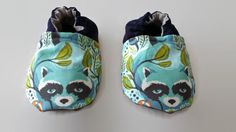 Raccoon Baby booties Blue Baby shoes Lil Rascals Tula by Cabooties