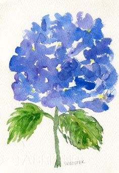Purple and Blue Hydrangeas watercolor painting by SharonFosterArt, $22.00