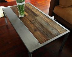 Handmade Reclaimed Wood & Steel Coffee Table by MadeFromWoodd