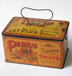 Circa 1890-1903: This excellent condition early Pedro Cut Plug Smoking Tobacco tin was manufactured by Wm. S. Kimball & Co. The American Tobacco Co.