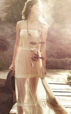 Sheer boho dress, modern hippie fashion trend. For MORE Bohemian style ideas FOLLOW http://www.pinterest.com/happygolicky/the-best-boho-chic-fashion-bohemian-jewelry-gypsy-/