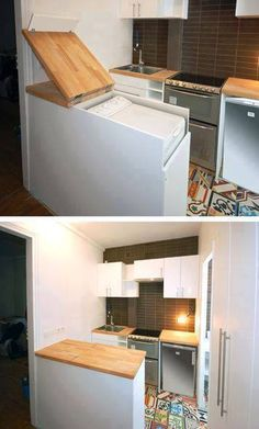 A unique spin on the under-counter washer/dryer idea...  Follow link to a collage of several other small-space savvy interiors.