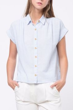 Button Down Short sleeve shirt Button Down Striped Shirt by Movint. First Day Of Summer, Shirt Blouses, Shirts, Button Downs, Buttons, Sleeves, California, Clothes, Tops
