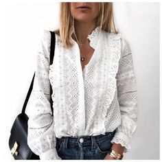 Solid Hollow Out Frills Detail Casual Shirt - Solid Hollow Out Frills Detail Casual Shirt Women's Trendy Clothes Online. Extra Off For Firs - Style Casual, Casual Chic, Casual Styles, Trendy Outfits, Fashion Outfits, Womens Fashion, Latest Fashion, Fashion Hacks, Fashion 2018