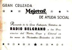 Trjeta invitación de MEJORAL a programa radial solidario. RADIO BELGRANO, Buenos Aires, 1944.