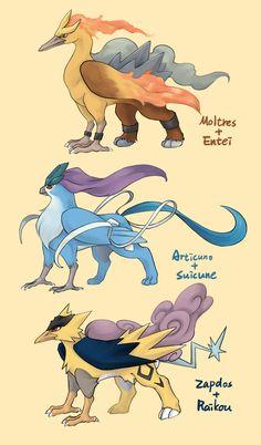 Legendary griffon-esque Pokemon fusions (by iekun on tumblr)