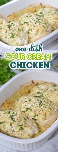 Sour Cream Chicken is an easy and delicious one dish weeknight meal. Chicken bre… Sour Cream Chicken is an easy and delicious one dish weeknight meal. Chicken breast is covered in a seasoned sour cream mixture and baked in the oven. Baked Chicken Breast, Chicken Breasts, Recipe For Boneless Chicken Breast, Meals With Chicken Breast, Simple Baked Chicken Recipes, Sauce For Baked Chicken, Easy Chicken Breast Dinner, Best Baked Chicken Recipe, Simple Recipes