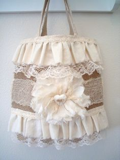 Altered+Lace+Purse+Handbag+Tote+Burlap+and+Lace+by+ShabbySoul