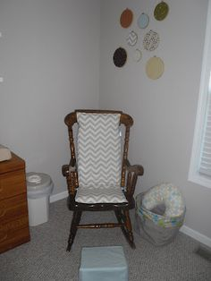 The Whitaker's Window: The Baby's Nursery - rocking chair pad and nursing stool cover