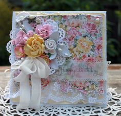 Happy Birthday handmade card, OOAK card, Pink & Yellow Flower Card by HydeParkHill on Etsy