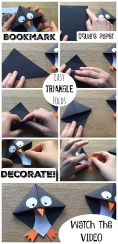 Super cute Penguin Bookmarks, these are super fun and EASY to make! And a great … Super cute Penguin Bookmarks, these are super fun and EASY to make! And a great introduction to Origami for kids. These Penguin Bookmarks make a nice gift too! Bookmark Craft, Diy Bookmarks, Corner Bookmarks, How To Make Bookmarks, Bookmarks For Kids, Bookmark Making, Origami Bookmark Corner, Crochet Bookmarks, Origami Paper