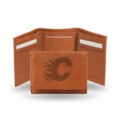 Calgary Flames Tri-Fold Wallet (Pecan Cowhide)