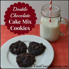 Double Chocolate Cake Mix Cookies. These rich  chocolatey cookies are perfect for baking for someone special on Valentine's Day.