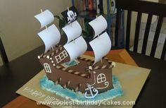 Homemade Pirate Ship Cake: My son wanted a pirate party for his 4th birthday, so I decided to make this pirate ship for him. My inspiration for this Pirate Ship cake came from the