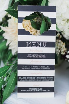Striped menu: http://www.stylemepretty.com/2015/05/05/patterned-wedding-details-that-wow/