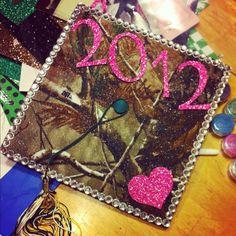 Glitter, camo, and pink graduation cap!