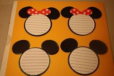 Disney Mickey and Minnie Journaling tags. Stamp, punch circle out, adhere to larger circle. Add ears and bow. Vacation Scrapbook, Disney Scrapbook Pages, Scrapbooking Layouts, Scrapbook Cards, Disney Mickey, Disney Cruise, Mickey Mouse, Disney Classroom, Disney Cards