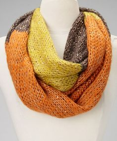 Take a look at this Orange & Yellow Color Block Infinity Scarf by Raj Imports on #zulily today! $18 !!