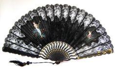 Fans · Art Nouveau Fans · Black Lace Signed Bayard - MadAboutFans