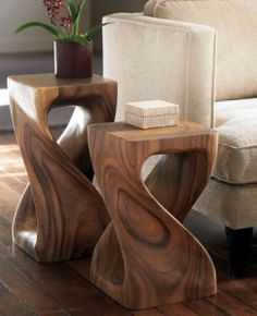 STOOLS & SIDE TABLES | The TOTEFISH Blog.  Monkey Pod Wood Hand-carved Twisty Stools $179
