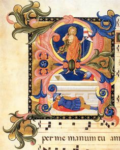 Gradual (Volume 2, folio 1v)  1390s  Tempera and gold on parchment, 540 x 390 mm (page size)  Newberry Library, Chicago.SIMONE CAMALDOLESE, Don  Italian illuminator (active 1378–1405 in Florence)