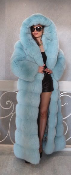 "New Designer Blue Fox Fur Full Length Coat Hood Horizontal s M 59"" 66"" 2 in 1 