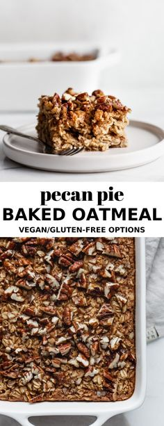 This vegan Pecan Pie Baked Oatmeal is the perfect healthy breakfast option for the winter season! This vegan Pecan Pie Baked Oatmeal is the perfect healthy breakfast option for the winter season! Healthy Breakfast Options, Vegan Breakfast Recipes, Dessert Recipes, Healthy Breakfasts, Healthy Vegan Desserts, Vegan Sweets, Healthy Recipes, Healthy Eating, Clean Eating Pizza