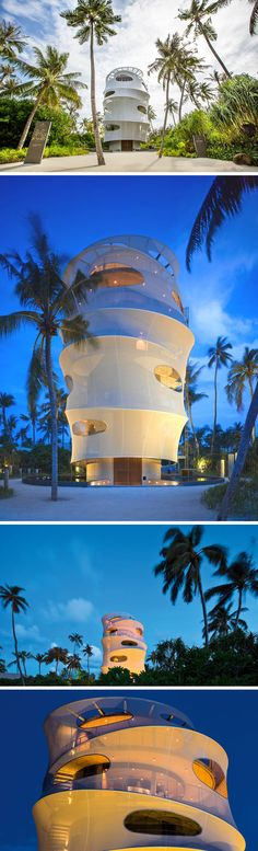 The Tower On This Tropical Island Has A Bar And Restaurant Inside