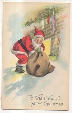 To Wish You Happy Christmas SANTA CLAUS Sack Toys, Fireplace Christmas Postcard #Christmas