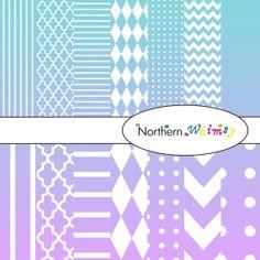 Digital Scrapbooking Paper Background Set – Aqua Blue and Lavender Ombre - stripe, chevron, polka dot, stripe, harlequin, & quatrefoil