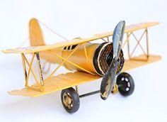 Berry President® Vintage / Retro Wrought Iron Aircraft Handicraft - Metal Biplane Plane Aircraft Models -The Best Choice for Photo Props/christmas Gift/home Decor/ornament/souvenir Study Room Desktop Decoration (Yellow) Berry President http://www.amazon.com/dp/B01178HTKM/ref=cm_sw_r_pi_dp_-Hxfwb1ZP01KD