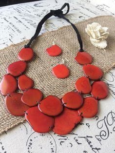 Burnt orange statement necklace and earrings set Tagua nut