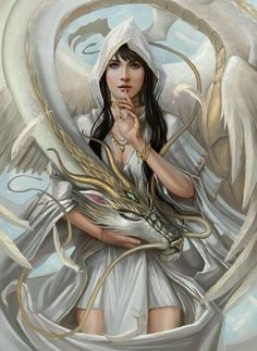 Lady of the Dragon, the Last Priestess, with captivating purple eyes, her dragon curled around her like each was an extension of the other, one didn't know where each began or ended.