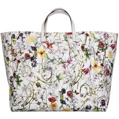 Gucci Large White Flora Print Canvas Shopper ($665) ❤ liked on Polyvore