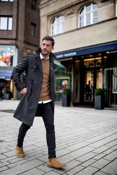 Black Trench Coat Winter Fashion Outfits Casual Men S Autumn