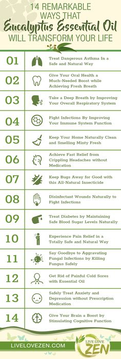 Eucalyptus essential oil can reduce stress, heal inflammation and boost the immune system in addition to helping with ASTHMA and acting as a DECONGESTANT. #Asthmainfographic