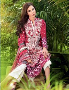 Premium Lawn Embroidered front, printed back, sleeves, digital printed satin border, printed silk dupatta & printed shalwar Shirt, shalwar & dupatta ,2.5 mtr each