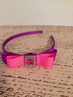 Purple and bubblegum pink layered ribbon bow by DonnaBellaBows, $8.95