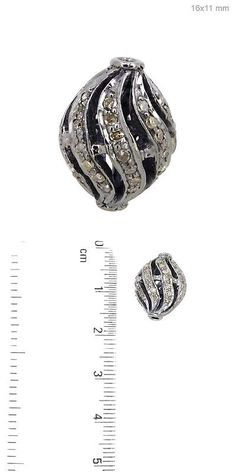Findings and Stampings 165142: 0.66Ct Pave Diamond 925 Sterling Silver Fine Spacer Bead Finding Jewelry 16X11mm BUY IT NOW ONLY: $87.0