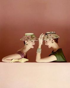 Mary Jane Russell and Cherry Nelms, photo by Richard Rutledge (used for cover), Vogue March 1954 | flickr skorver1