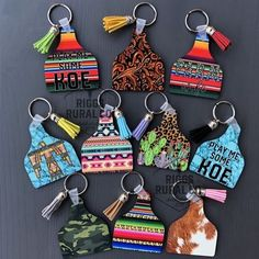 Cattle Cow Ear Tag Keychains – Riggs Rural Co. Diy Keychain, Leather Keychain, Leather Earrings, Cattle Tags, Cow Ears, Acrylic Keychains, Ear Tag, Cute Car Accessories, Cute Cars